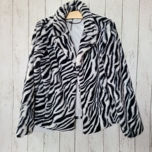 Cozy and Soft Fuzzy Zebra Jacket